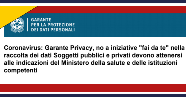 coronavirus garante privacy